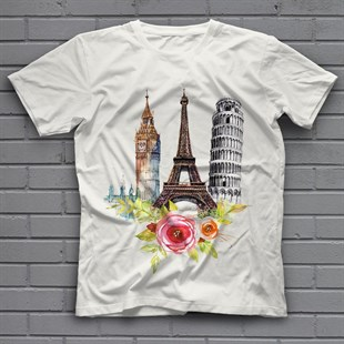 Tower of Pisa White Unisex  T-Shirt