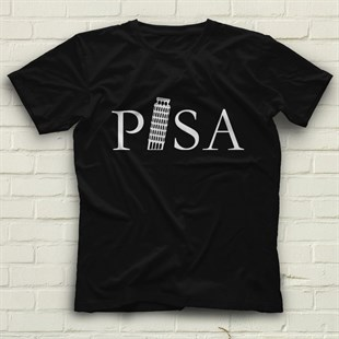 Tower of Pisa Black Unisex  T-Shirt